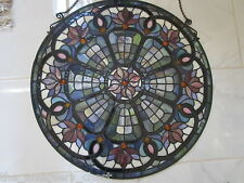 """Stain glass vitreaux , vintage, very good condition, with hangers, 24"""" diam"""