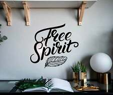 FREE SPIRIT Feather Hippie Life Vinyl Wall Decal Decor Sticker