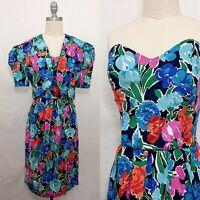 Vintage 80s Jessica Howard Floral Dress & Jacket Set Size Small