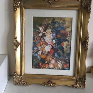 """Vintage/french Country Style Floral Picture In Ornate Gold Frame 12.5 X 10.5"""""""