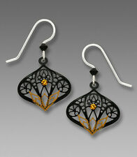 Adajio BLACK Moroccan Style EARRINGS Topaz Lotus STERLING Silver Dangle - Boxed