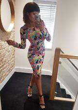 Gorgeous neon splash print tight sexy long sleeve wiggle midi dress! Size 12-14