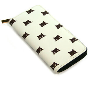 Black & White Peeping Cat Vinyl Ladies Clutch Purse Coins Cards Wallet Travel