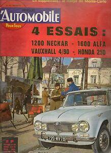 L'AUTOMOBILE 202 1963 RALLYE MONTE CARLO ALFA GIULIA 1600 TI VAUXHALL VX 4/90