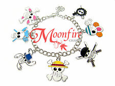 ONE PIECE FANDOM CHARM BRACELET LUFFY ACE PIRATE SKULL CROSSBONES BEST QUALITY!!