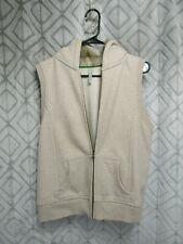 Old Navy Hoodie Vest Size L Gray Open Front Zipper Pocket Fake Fur in Hood
