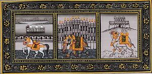 Elephants Horse Camel Painting Rajasthani Monuments Handmade Animal Silk Artwork