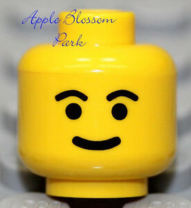 NEW Lego Standard Yellow MINIFIG HEAD - Girl Boy w/Classic Smile Black Eyebrows