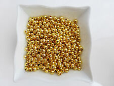 500 x 3mm Smooth Round Gold Colour Iron Spacer Beads Findings Metal    (MBX0071)