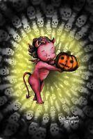 Devilish Delight Halloween Vintage Style Original Artwork Postcard Signed!!!