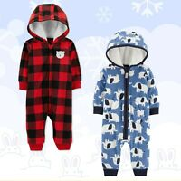 NWT Carter's Baby Boys' One Piece Fleece Jumpsuit Hooded Coverall 1 Piece Winter