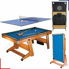 BCE 6FT Pool Tennis Table Dartboard & Balls - 3 in 1 Games Vertical Folding