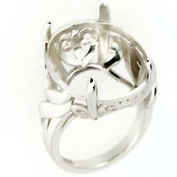 Art Deco Sterling Silver Semi Mount Ring Setting Oval Cut  OV 20x16mm Size 8