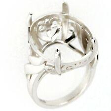 Art Deco Sterling Silver Semi Mount Ring Setting Oval Cut  OV 16x20mm Size 7