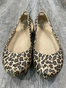 Women's Crocs Leopard Flats Women Sz 8 Slip On