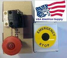 Red  LED Emergency Stop Push Button Switch Metal Station 1NO 1NC 110/250VAC 10A