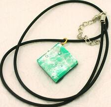 Murano Glass Pendant Necklace Aqua Silver Square Venetian
