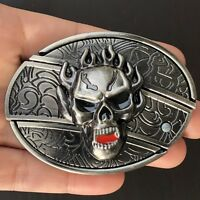 NEW HIGH QUALITY Skull Belt Buckle Western Cowboy SILVER Removable BLACK FIRE