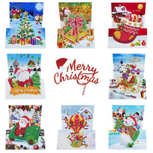 8pcs Special shaped Diamond Painting Cross Stitch Christmas Greeting Cards