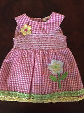 Real Love Girls' Pink Gingham Dress With Flower Applique 18 Months