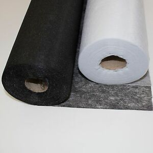 Iron On Fusible Non Woven White Black Interfacing Lightweight, Medium 0.9M Wide