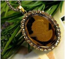Glass Cameo Champagne Crystals Gift For her Necklace Unusaul Vintage Jewellery