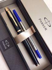 PARKER IM BLACK LACQUER GOLD TRIM ROLLERBALL PEN-FRANCE-BLUE INK-GIFT BOX-NOS.