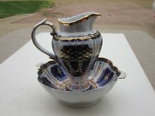 Beautiful Limoges Blue White Gold With Florals Porcelain Bowl & Pitcher Set