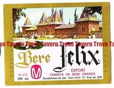 Unused 1970s ROMANIA Oradea Bere Felix Beer label Tavern Trove