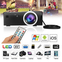 1080P Portable Mini Multimedia LED Projector Home Theater Beamer USB TF HDMI AV