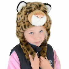 Boys Girls Deluxe Animal Leopard Hat With Ear Flaps Winter Super Soft Faux Fur