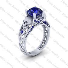 925 Sterling Silver Skull Ring Womens Blue Sapphire Gothic Skull Engagement Ring