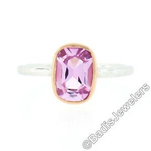 18k Gold 1.97ct Cushion GIA NO HEAT Ceylon Pink Sapphire Bezel Solitaire Ring