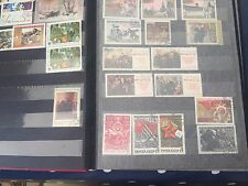 World stamp collection Japan Mongolia Russia Hong Kong in knackered old book