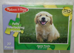 NIB Sealed Melissa & Doug 30 Golden Retriever Puppy Dog Kids Jigsaw Puzzle 1351