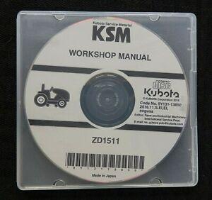 GENUINE KUBOTA ZD1511 ZERO-TURN MOWER WORKSHOP SERVICE REPAIR MANUAL ON CD NICE