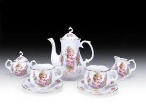 BABY ANGEL CHERUB FLOWER PORCELAIN TEA SET TEAPOT SUGAR BOWL CREAMER 2 TEACUPS