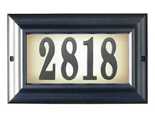 Large lighted address sign in Pewter with Black Vinyl Numbers