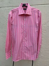 TOM FORD PINK WHITE STRIPED COTTON DRESS SHIRT SZ 43/17