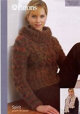 Knitting Pattern Ladies Chunky Wide Polo Neck Cable Sweater Scarf Patons 3351