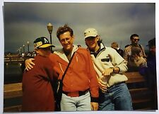 Vintage 90s PHOTO Two Guys w/ Kid in Oakland Baseball Hat At Fishermen's Wharf