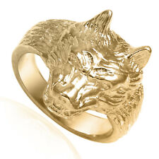 14K Solid Yellow Gold Wolf Ring #R1961 New