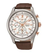BRAND NEW Seiko Gents Brown Strap Perpetual Alarm Chronograph Watch  SPC129P1