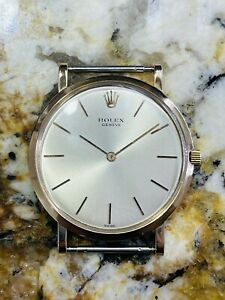 ROLEX CELLINI VINTAGE 18K PINK GOLD ULTRA THIN SCREW BACK UNUSUAL MENS WATCH!!!