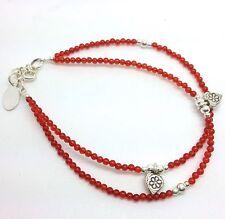 Carnelian Gemstone Double Heart Charm Bracelet, Solid Sterling Silver, New.