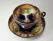 Antique Nippon Cobalt Gold Pedestal Cup and Saucer w/ Hand Painted Swans