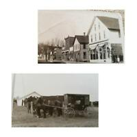 East Side Mains St Near Wellman Iowa 1910's Horses RPPC Postcards 2