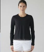 Lululemon Sole Training Long Sleeve Top Black Mesh Dot Size Sz 6 Uv Protection