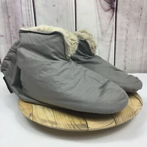 Restoration Hardware S/M 5-7 Fog Gray Down Luxury Plus Foot Duvet Slippers NWT