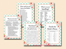 Print Yourself Mint and Peach Bridal Shower Game Package BS33